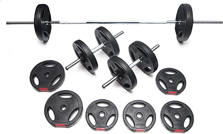 BodyPower™ 5FT Tri-Grip SPINLOCK Barbell// Dumbbell Weight Sets 2-Piece Solid Bar