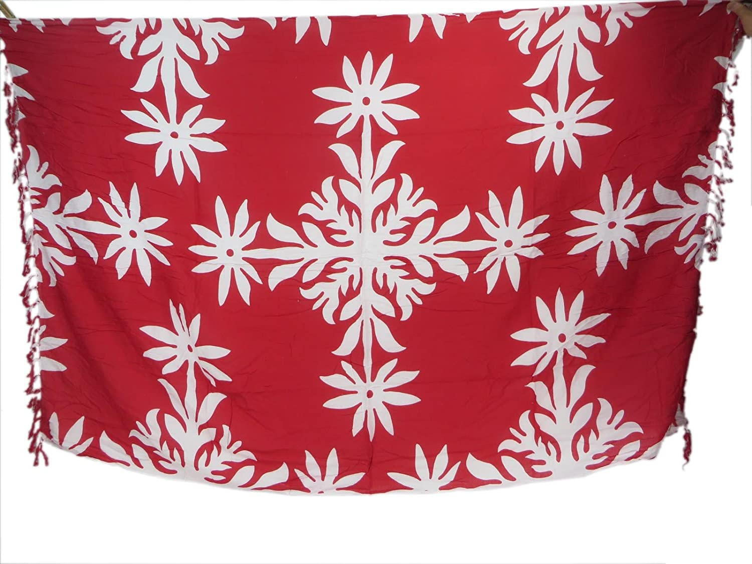 Bali handmade red sarong with white snowflakes