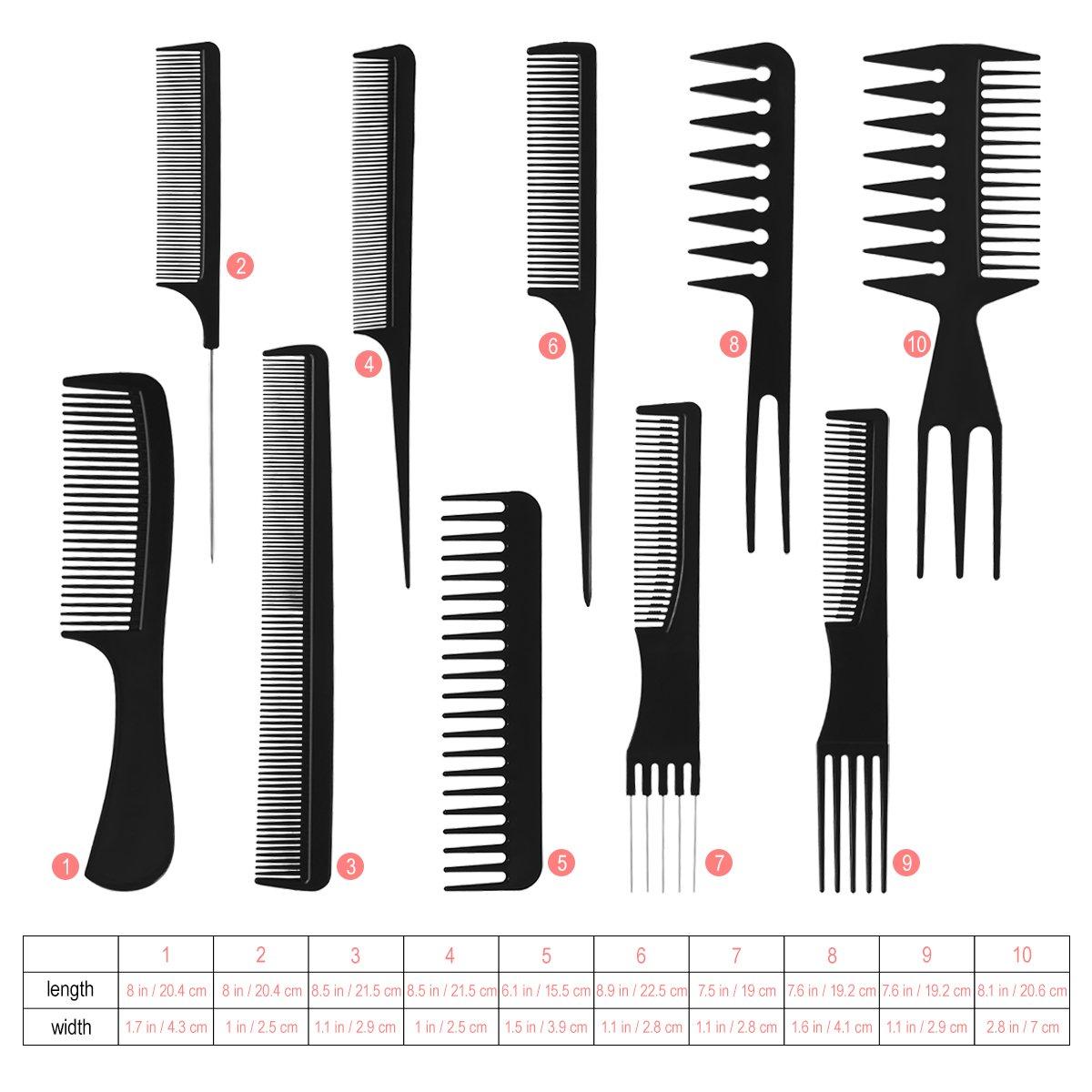 Frcolor 10pcs pettini di styling dei capelli antistatici professionali, accessori multifunzionali del parrucchiere messi corredo di strumenti dell'acconciatura