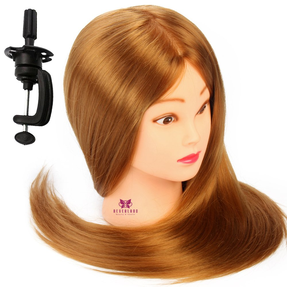 Neverland Beauty 26 30% Real Human Long Hair Hairdressing Cosmetology Mannequin Manikin Training Head Model with Clamp Neverland Beauty & Health