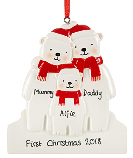 Personalised Polar Bear Christmas Decoration Family S First