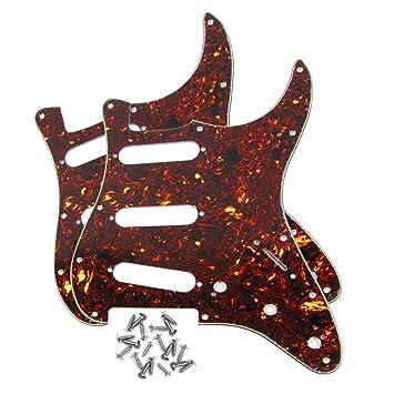 IKN 2 piezas marrón de caparazón de tortuga placa de cero golpeador de SSS W/tornillos para Fender Strat estilo guitarra: Amazon.es: Instrumentos musicales