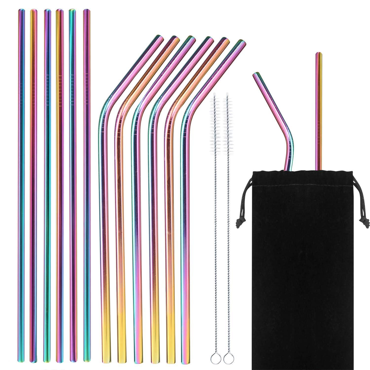 Set of 14 - Stainless Steel Drinking Straws, Eco Friendly 6 mm Metal Bent Straw for Tumbler Yeti or Ozark Trail Ramblers Cups, with 2 Cleaning Brushes - And Cary Bag, Rainbow