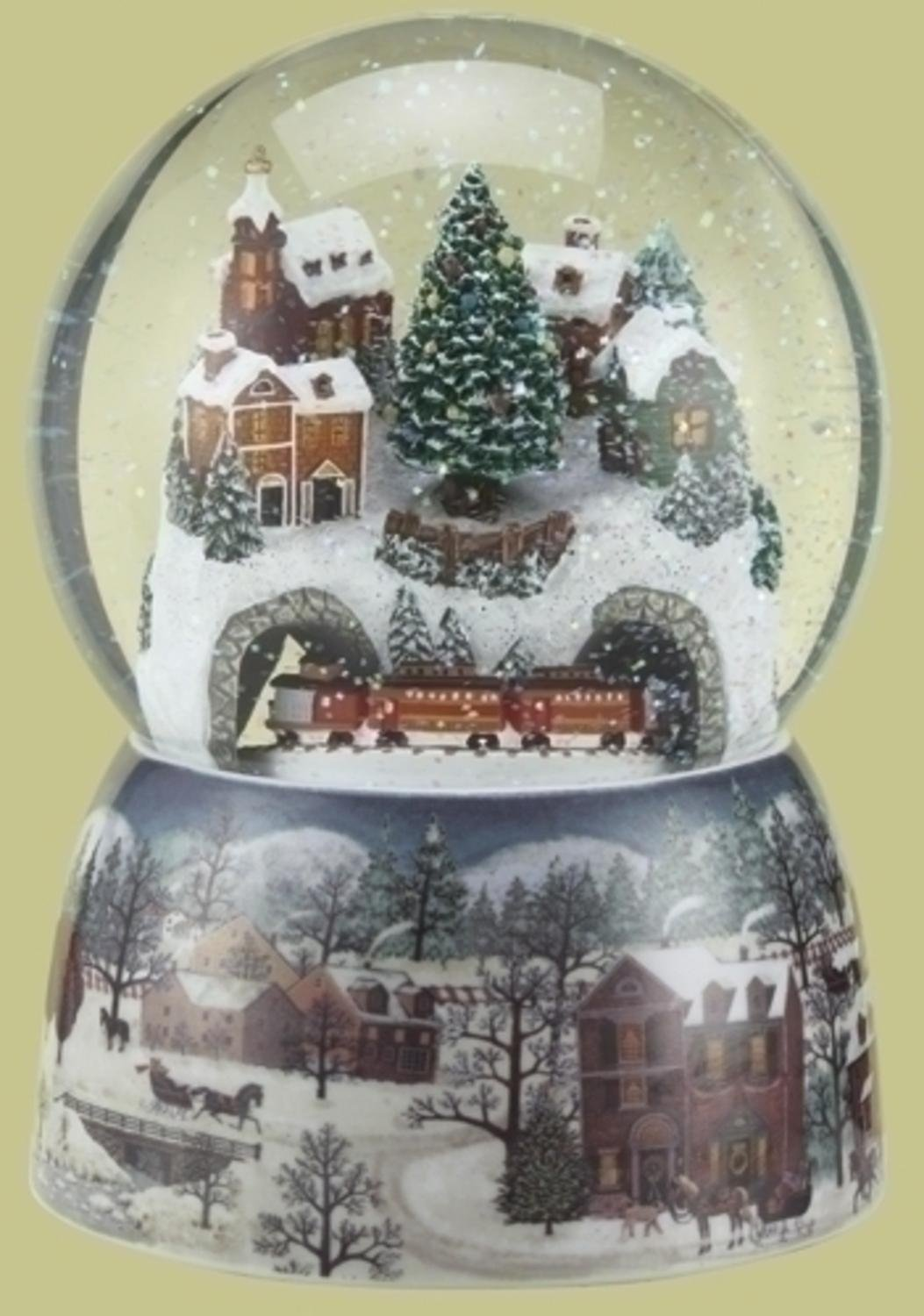 Roman Set of 2 Musical Winter Village Scene with Revolving Train Christmas Glitterdome 6.75''