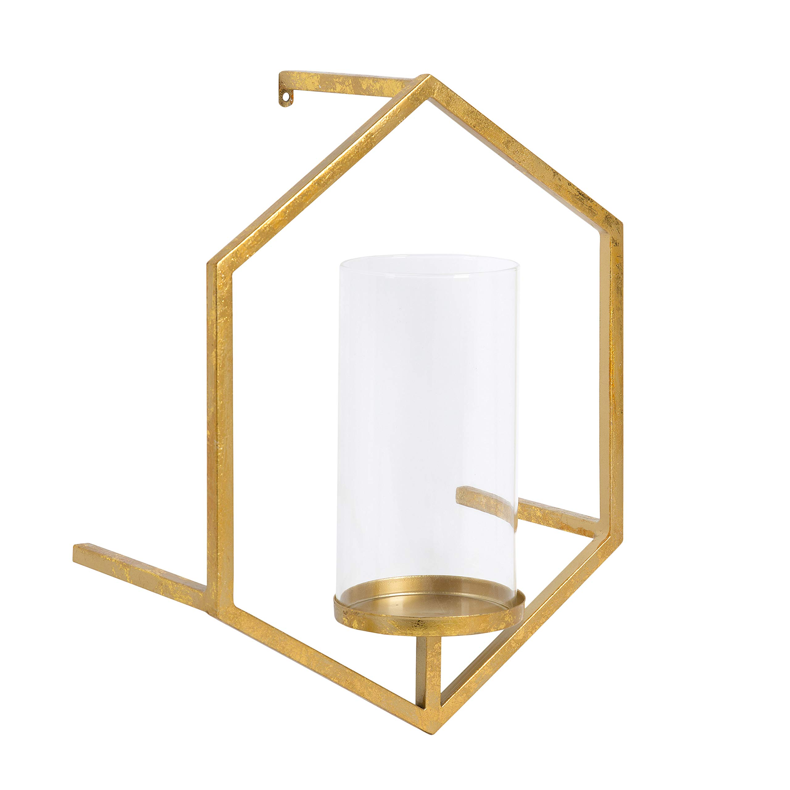 Kate and Laurel Curran Hexagon Metal Sconce Wall Candle Holder, with Glass Pillar, Gold