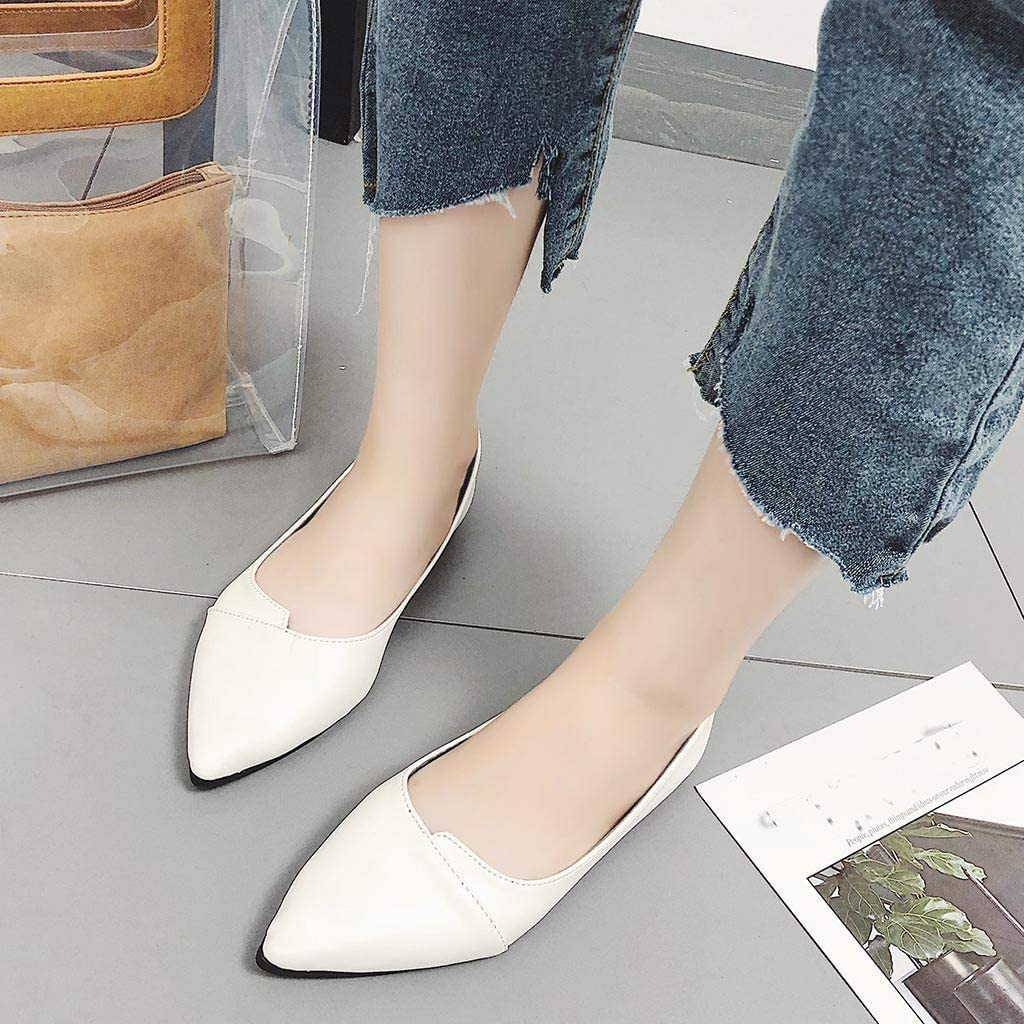 Dunacifa Womens Solid Flat Shoes Casual Pointed Toe Work Shoes Slip On Single Shoes