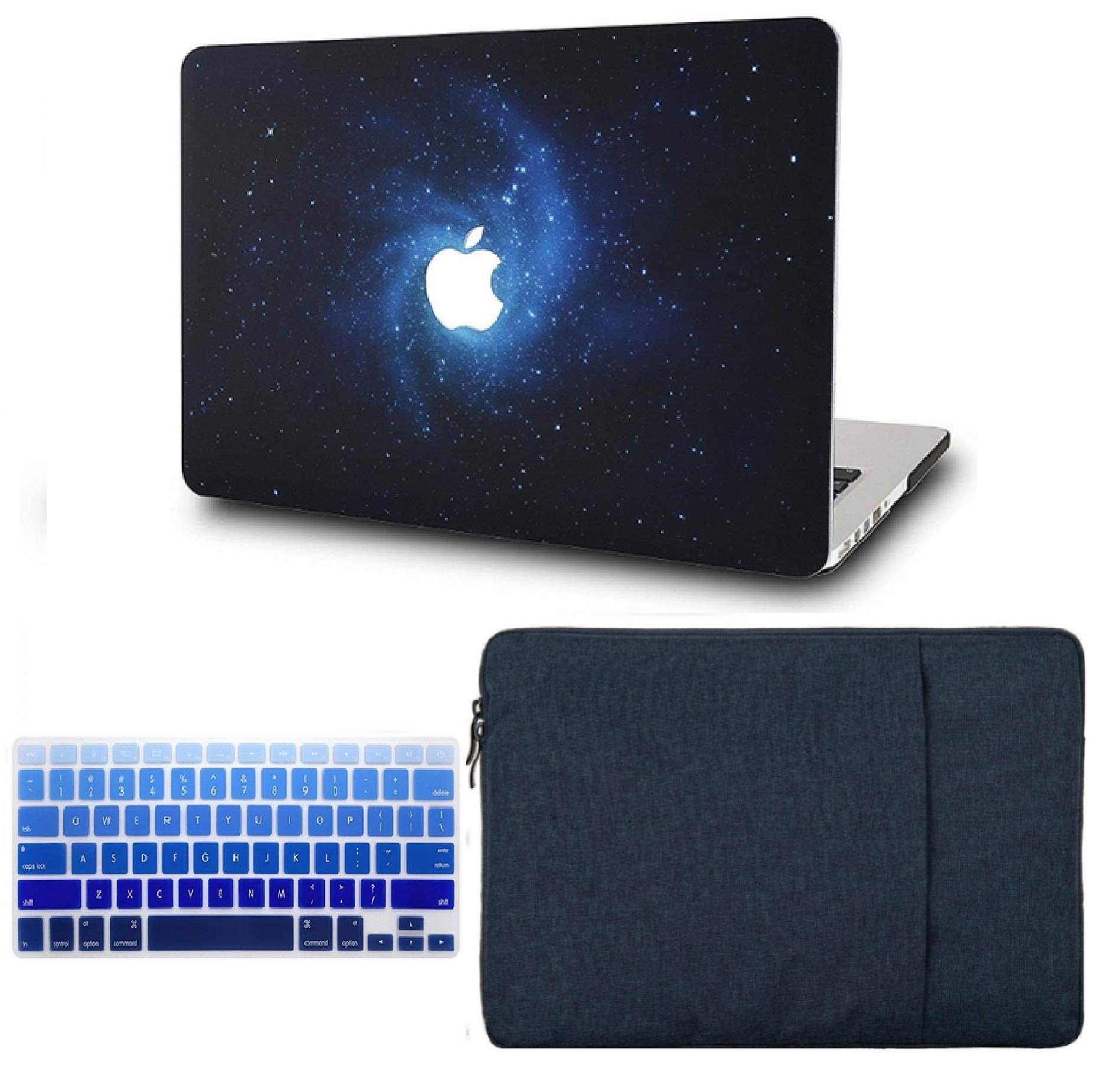 KECC Laptop Case for MacBook Pro 13'' (2019/2018/2017/2016, with/Without Touch Bar) w/Keyboard Cover + Sleeve Plastic Hard Shell Case A2159/A1989/A1706/A1708 3 in 1 Bundle (Blue) by KECC