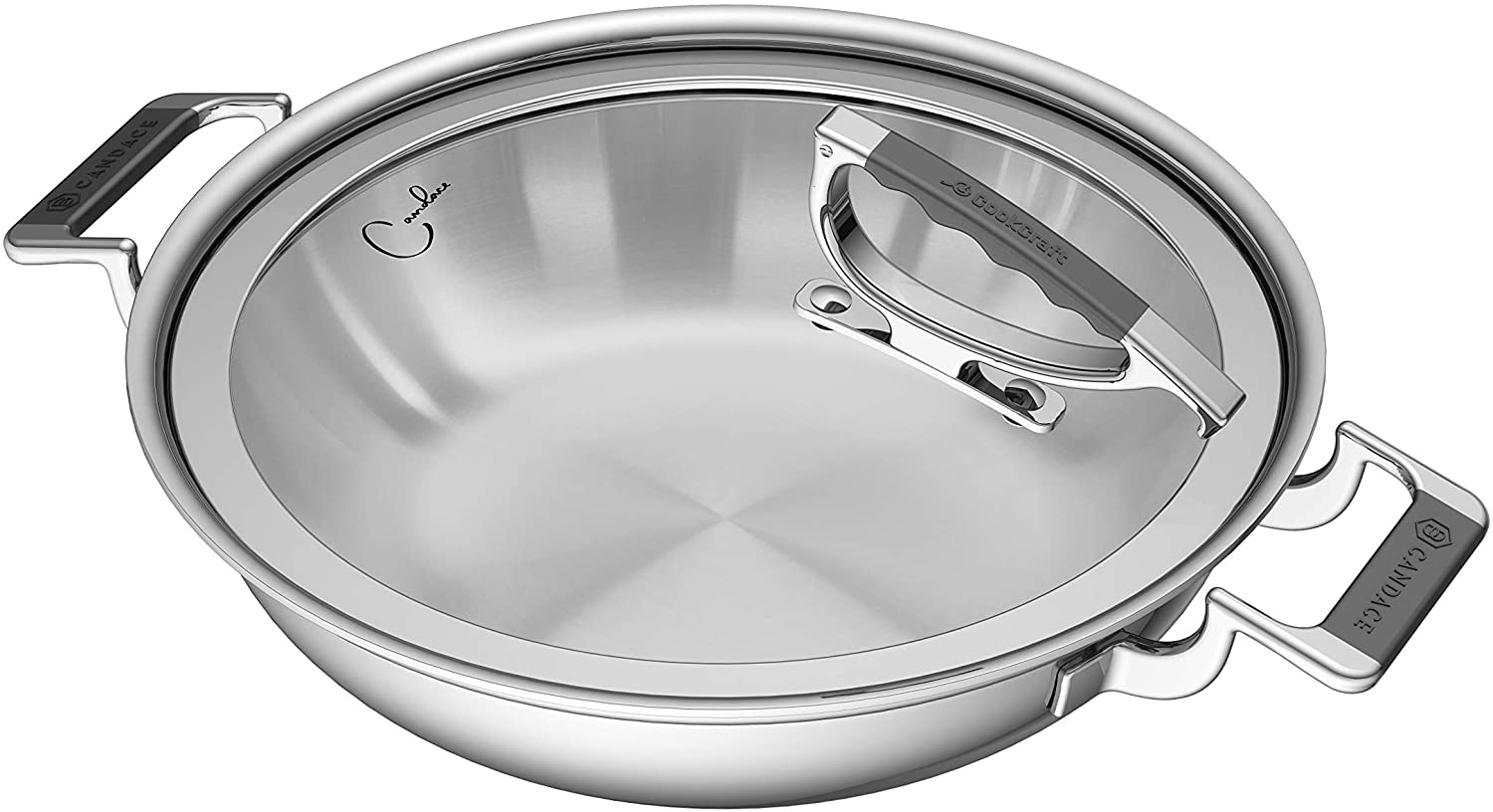 Amazon Com Cookcraft By Candace 12 Tri Ply Bonded Stainless Steel Aluminum Core Dishwasher Safe Gourmet Covered Casserole Pan With Glass Latch Lid Kitchen Dining