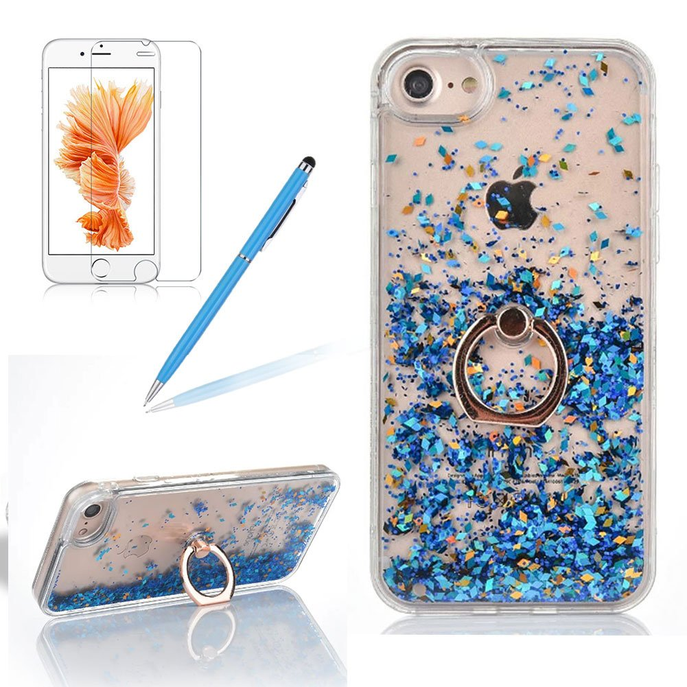 Case Cover For Iphone 6 PLUS / Iphone 6S PLUS, Girlyard Novelty Design Fluid Liquid Case Slim Crystal Leaves Case Bling Glitter Sparkles Hourglass Cover Clear Back Case Transparent with Stand Rotating Ring and Free Screen Protector, Rose Gold