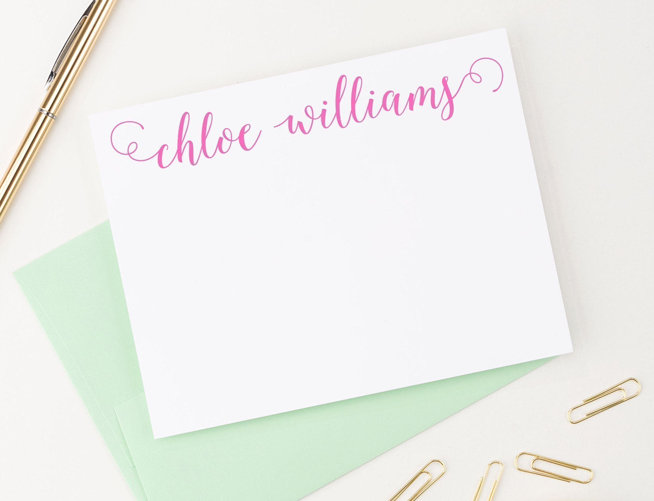 Personalized Stationery Set, Calligraphy, Personalized note cards, Personalized Thank you note cards, Personalized Stationary set, Set of 10 flat note cards and envelopes