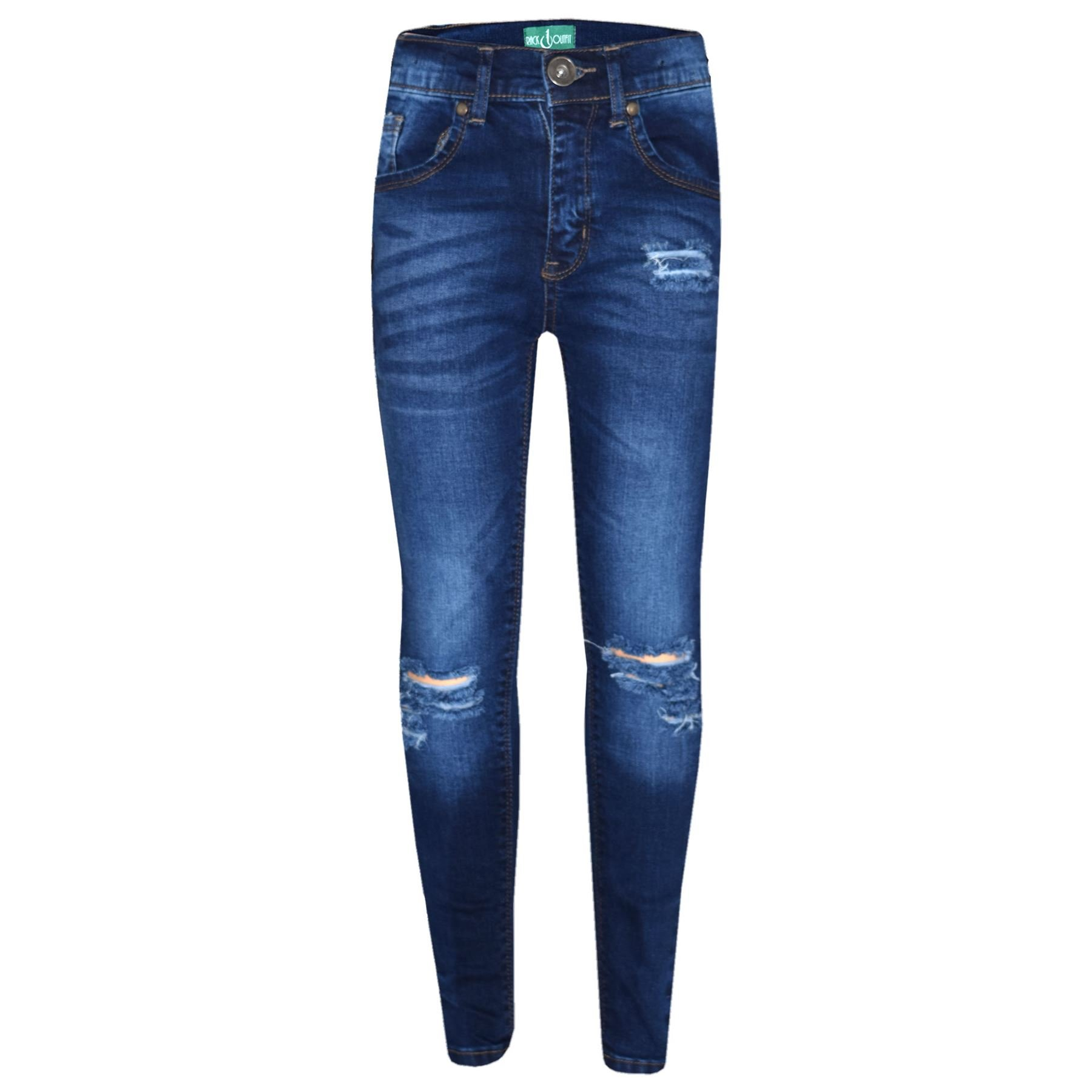 A2Z 4 Kids® Girls Stretchy Jeans Kids Blue Denim Ripped Pants Frayed Trousers Age 5-13 Year