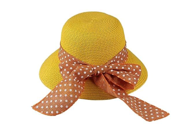 Dantiya-moda donna cappello da sole elegante con arco a pois (giallo ... 6540abdec2ef
