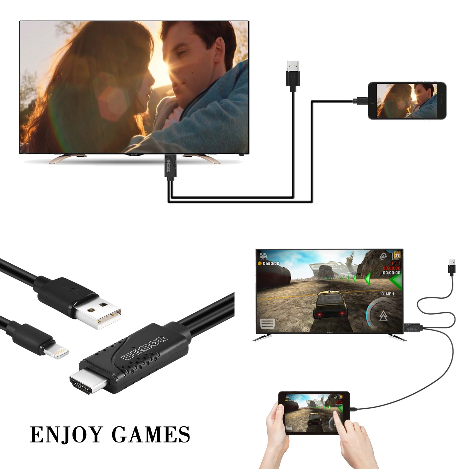 Welmor 6.5ft HDMI Adapter Cable,High Speed HDMI 1080P HDTV Adapter Cord Compatible with iPhone X/8/7/6/plus,iPad,iPod to HDMI Cable ,Plug and Play(Black) by Welmor (Image #4)