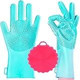 AAA HANDY WASH Guantes de Silicona para Lavar Trastes 1 Par + Esponja, Grado Alimenticio Antibacterial, Resistentes al Calor,