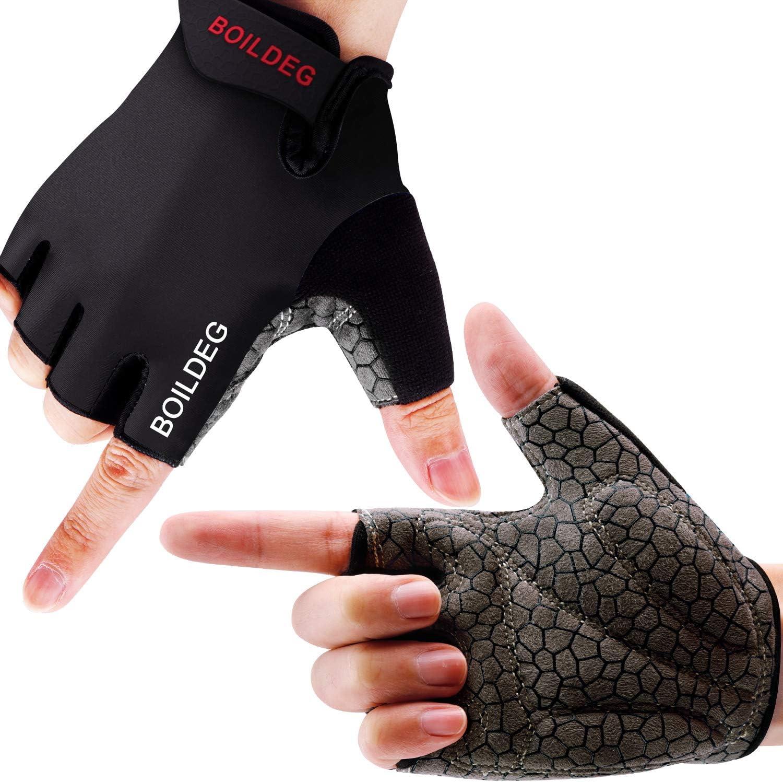BOILDEG Fahrradhandschuhe Fingerlos Fitness Handschuhe Atmungsaktiv Rutschfestes Stoßdämpfende Radsporthandschuhe für MTB Fitness Damen und Herren: Amazon.de: Sport & Freizeit - Fahrradhandschuhe
