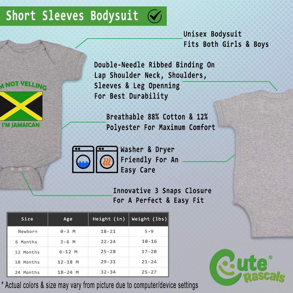 Custom Boy /& Girl Baby Bodysuit Im Not Yelling I Am Jamaican Jamaica Clothes