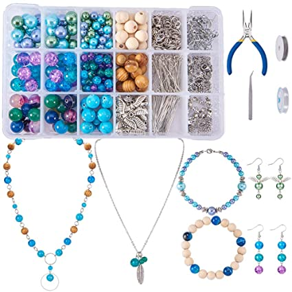 Combination Suit Jump Ring Lobster Clasp Tail Chain Pliers Tweezers Diy Jewelry Findings Making Box With Jewelry Tool Beads Kit Clear And Distinctive Jewelry & Accessories