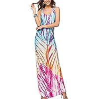 Mujer Vestido Largo Casual Bohemio Teñido Sin Mangas Fiesta Maxi Vestidos Playa Verano