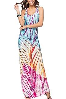 Zilcremo Mujer Boho Maxi Vestido Fiesta Tie Dye Sin Mangas Cuello Redondo Casual Beachwear por La