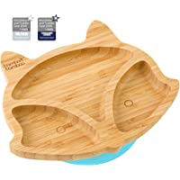 Baby Toddler Fox Cub Suction Plate, Stay Put Feeding Plate, Natural Bamboo (Blue)