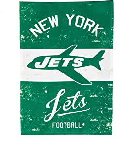 "Team Sports America New York Jets NFL Vintage Linen Garden Flag - 12.5"" W x 18"" H Outdoor Double Sided Décor Sign for Football Fans"