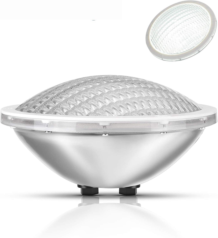 LyLmLe LED Piscina PAR56,30W Bombilla LED Sumergible Iluminación de Piscinas,Impermeable IP68,12V DC/AC,6000K Blanco Fría