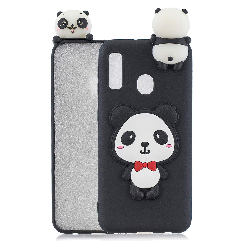 Cane HongYong Compatibile con Cover Samsung Galaxy A20e Silicone Disegni 3D Panda Animal Divertenti Fantasia Gomma Morbido Custodia Antiurto Protettiva Case Molle Caso