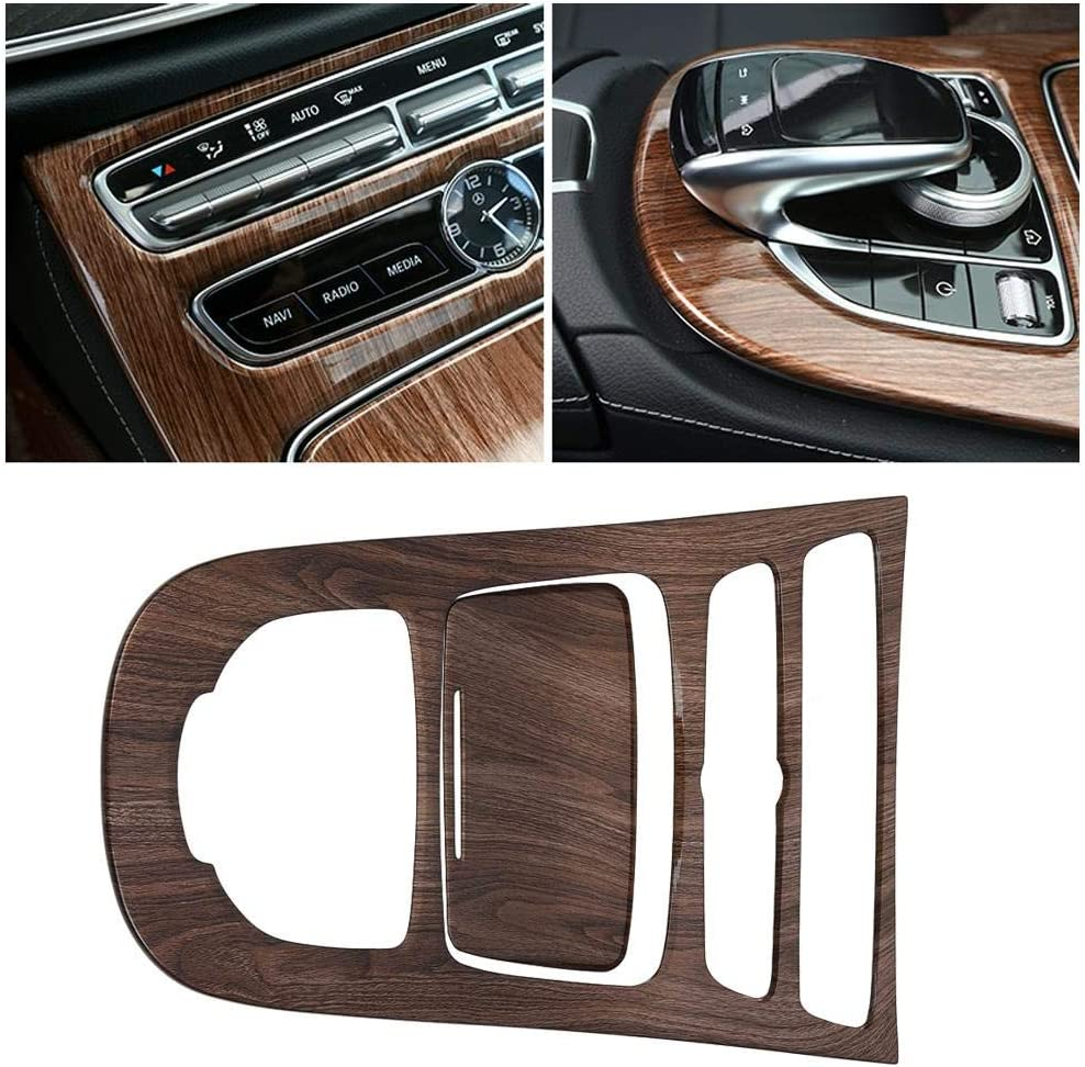 2Pcs Console Gear Shift Panel Cover Trim for E-Class W213 16-18 Walnut Brown Wood Console Gear Panel Trim