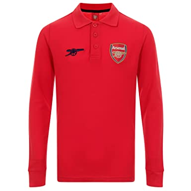 b3497e5b4ba Arsenal FC Official Soccer Gift Boys Long Sleeve Polo Shirt Red 8-9 Years