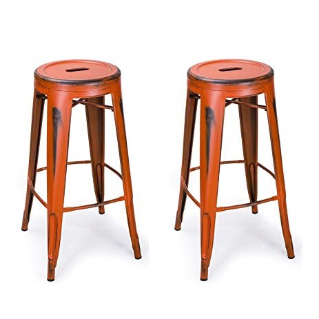 Orange Vintage Metal Stools Round Homebeez 30 inches Industrial Counter Bar Stools Chair set  sc 1 st  Amazon.com & Amazon.com - Orange Vintage Metal Stools Round Homebeez 30 inches ... islam-shia.org