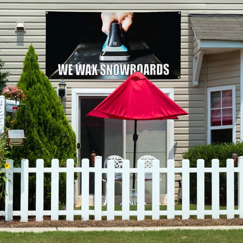 Vinyl Banner Sign We Wax Snowboards Business Snowboards Marketing Advertising White Set of 2 6 Grommets Multiple Sizes Available 32inx80in