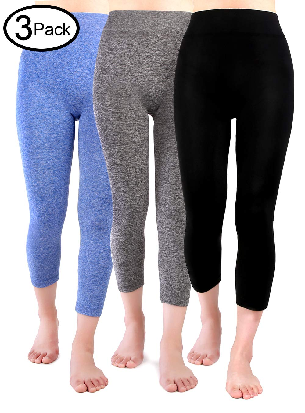 Fang Abodhu High Waist Capri Leggings for Women - Multicolor 3 Pack- One Size(S - L)