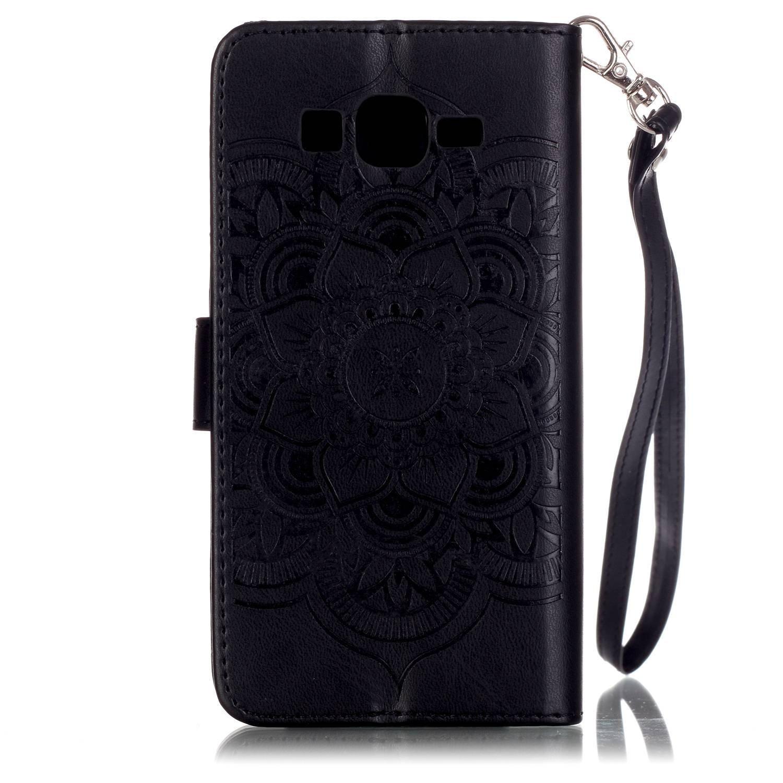 con Strap Fiori Design Custodia in Pelle PU Portafoglio Wallet Cover con Supporto di Stand//Carte Slot PU Pelle ISAKEN Compatibile con Samsung Galaxy Core Prime G530 Custodia Fiori: Grigio