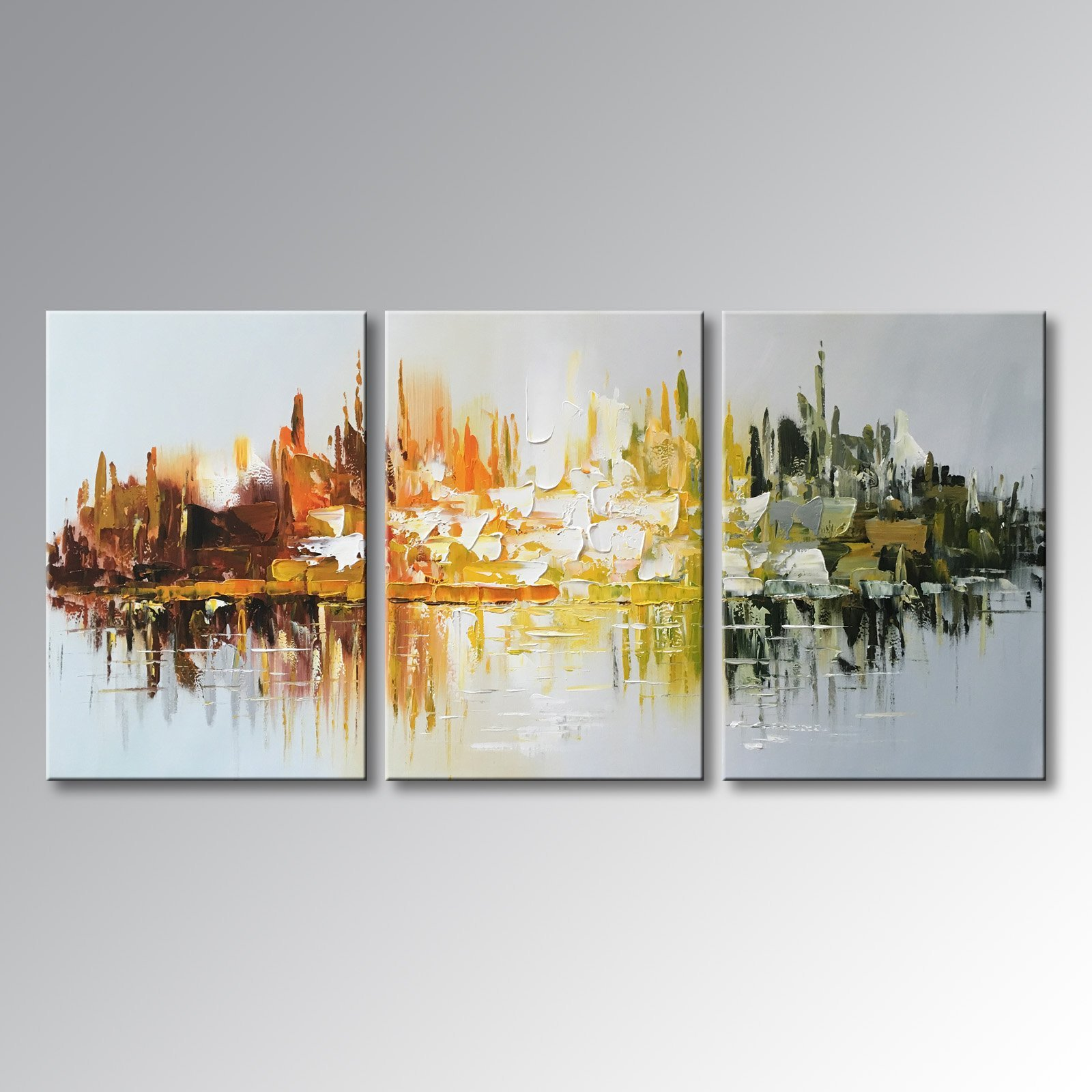 Winpeak Art Hand-painted Abstract Large Canvas Wall Art Modern Landscape Oil Painting for Living Room Contemporary Artwork Decor Hanging Framed Ready to Hang (72''W x 36''H (24''x36'' x3pcs)) by Winpeak Art