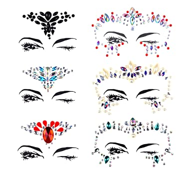 Amazon.com   LIUMANG 6 Pieces of Rhinestone Mermaid Face Jewels Tattoo  Bindi Temporary Stickers Face jewelry Mermaid Eyes Body Crystal Tattoo for  Forehead ... 20c059c8c4a3