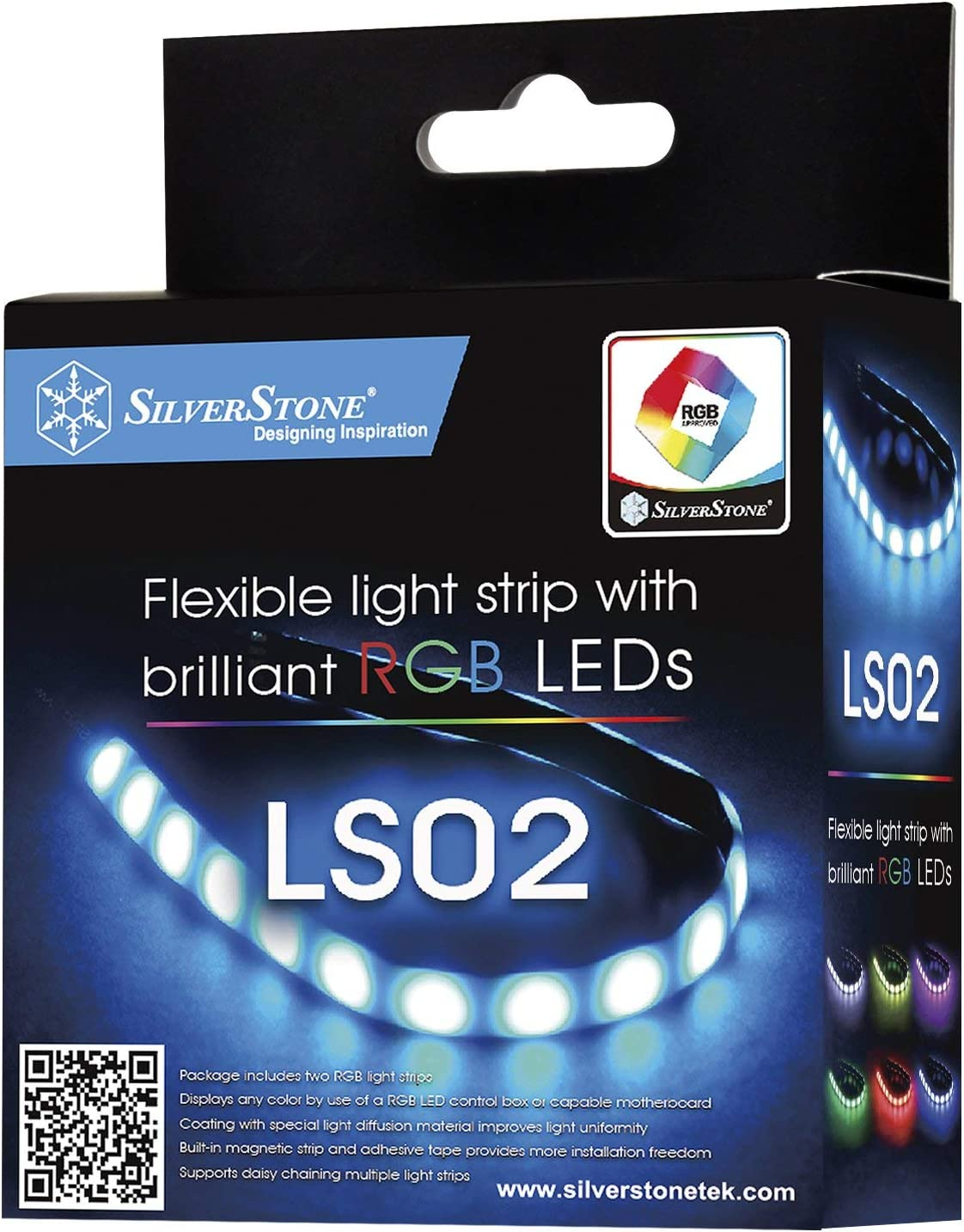 SilverStone Technology RGB LED Light Strip 2 Pack for ASUS AURA SYNC / MSI Mystic Light Sync / ASROCK AURA RGB / BIOSTAR RACING and Others LS02