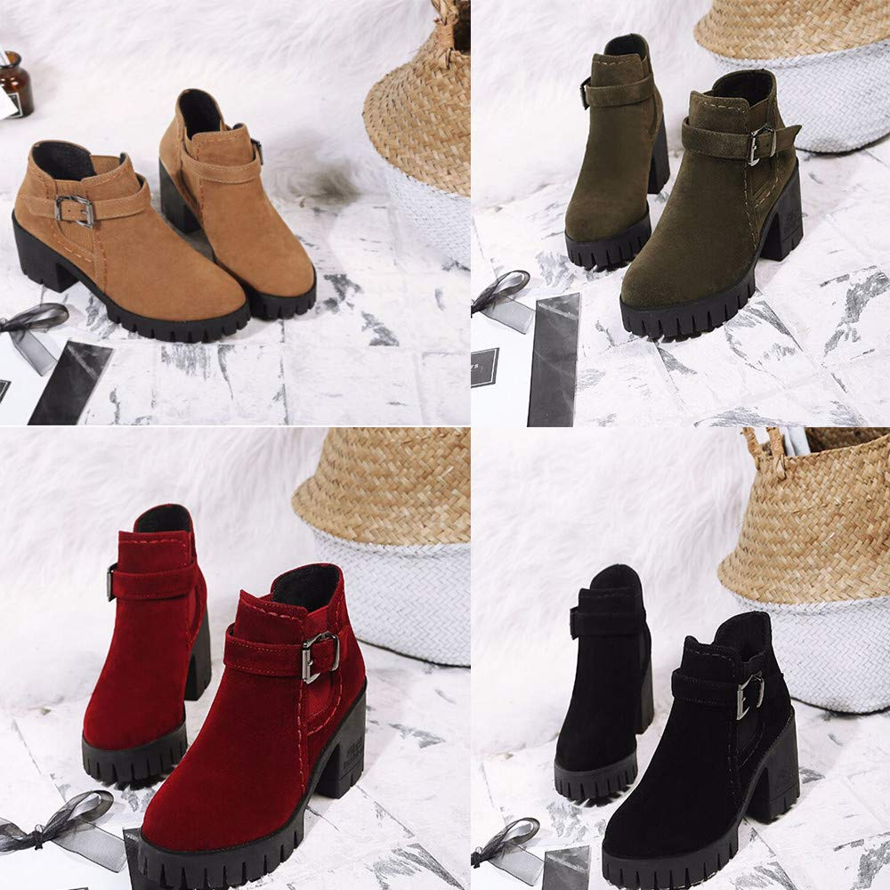 Amazon.com: Womens Fashion Round Toe Ankle Boots - Elegant Middle Stacked Heels - Party Buckle Strap Short Booties: Clothing