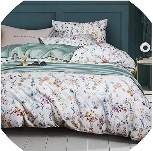 Luxury 4PCs Reversible Duvet Set Quilt Cover with Fitted Sheet and Pillow Cases
