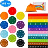 BMAG 156 Pcs Magnetic Fraction Tiles and Circles, Educational Math Manipulatives Learning Games for Elementary School, Fraction Strips & Bars Toys with Bonus Storage Bag