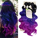 """HANNE Ombre Color Hair Synthetic Body Wave Hair 18""""20""""22"""" with Closure Heat Resistant Fiber Hair Colorful Synthetic Hair…"""