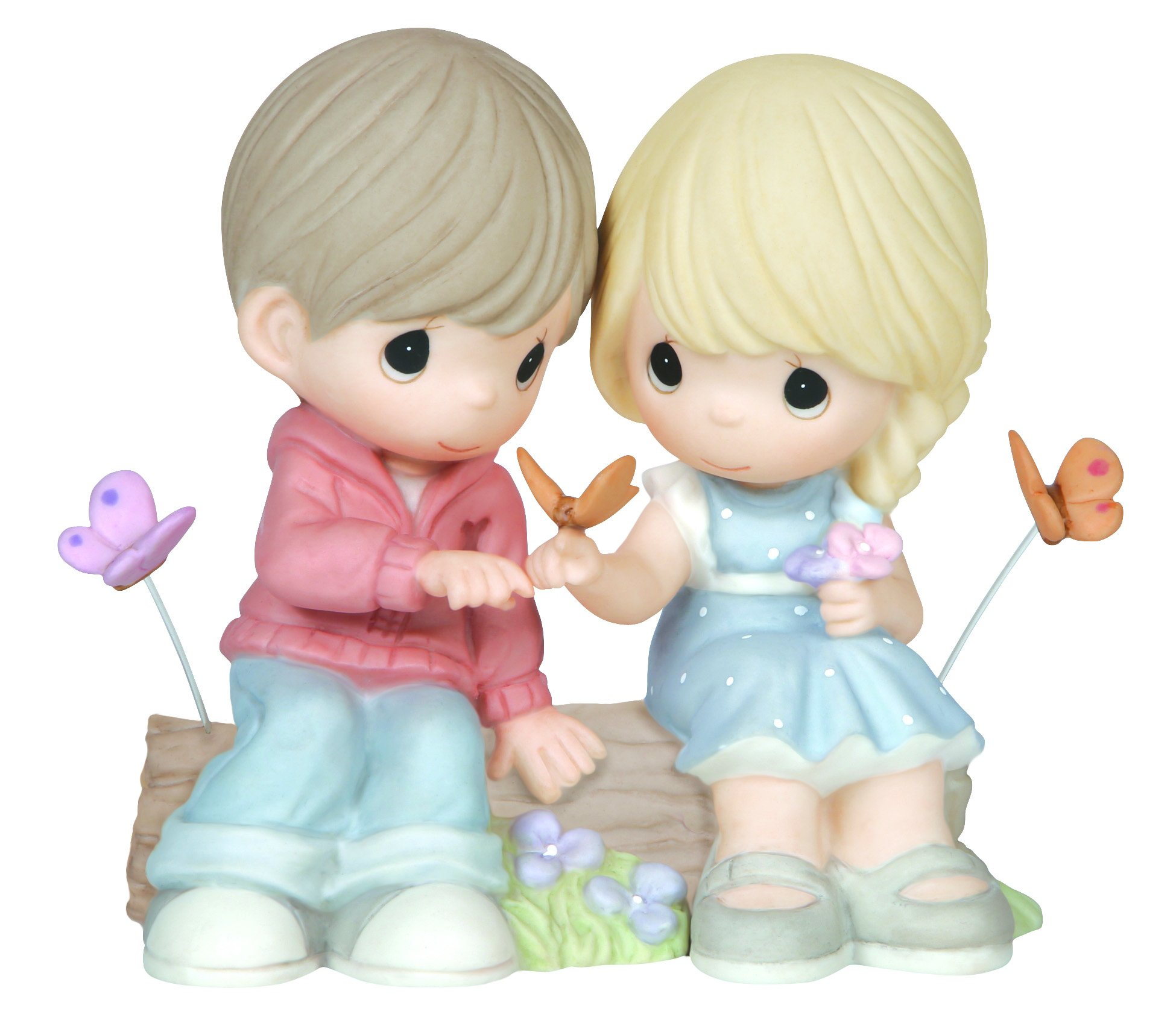 Precious Moments,  You Give Me Butterflies, Bisque Porcelain Figurine, 144010