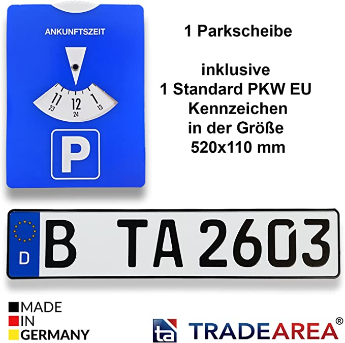 Ta Tradearea 1 Parking Disc Including 1 Standard Eu Licence Plate With Your Desired Embossing Auto