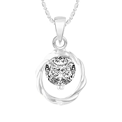 7ab8fbf915d Buy VK Jewels Single Stone Solitaire Rhodium Plated Alloy CZ American  Diamond Pendant with Chain for Women  VKP2494R  Online at Low Prices in  India