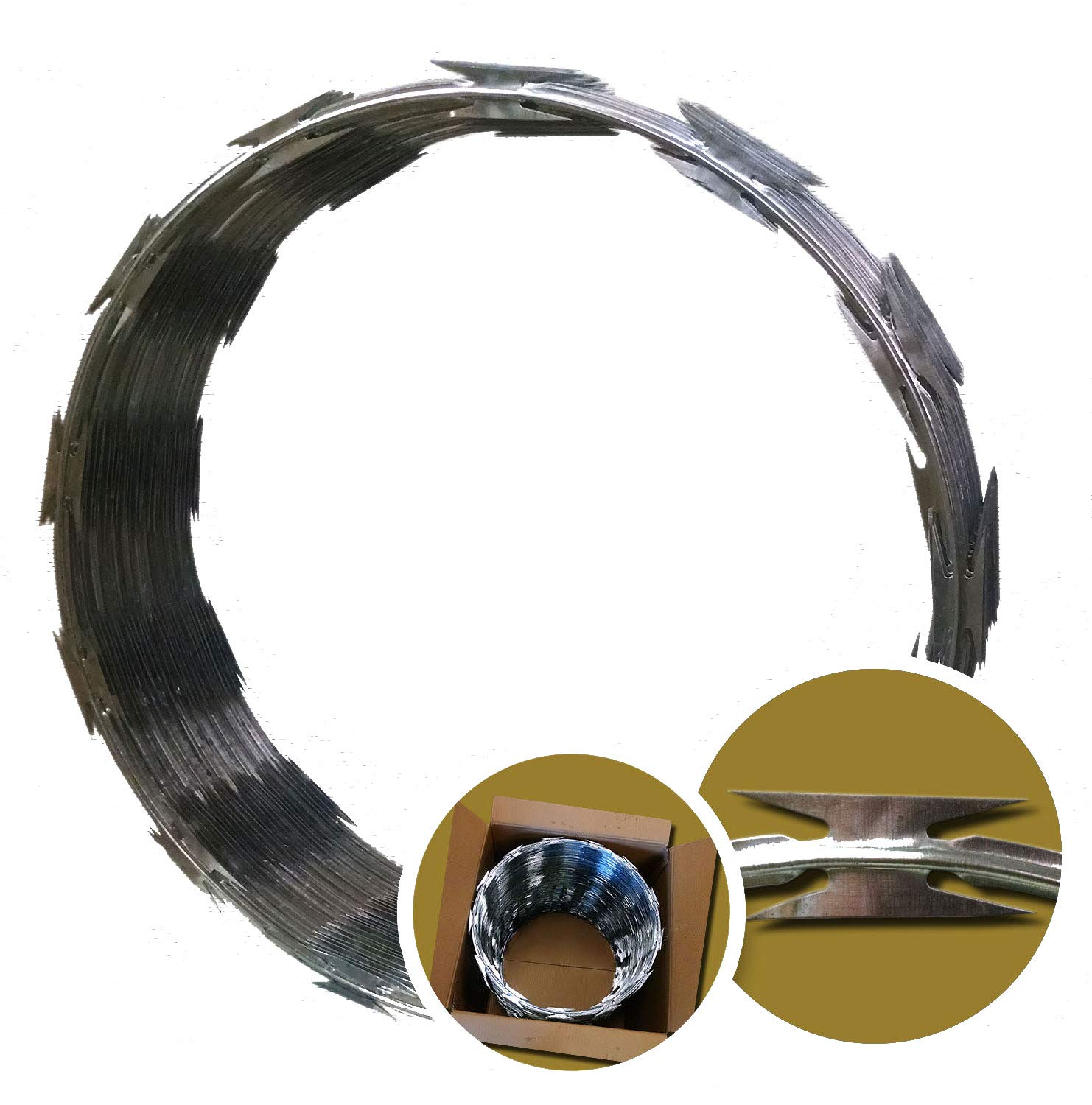 Razor Wire Ribbon Barbed 18 1 Coil 50 Feet Cost To Replace Aluminum Wiring Canada Per Roll Garden Outdoor