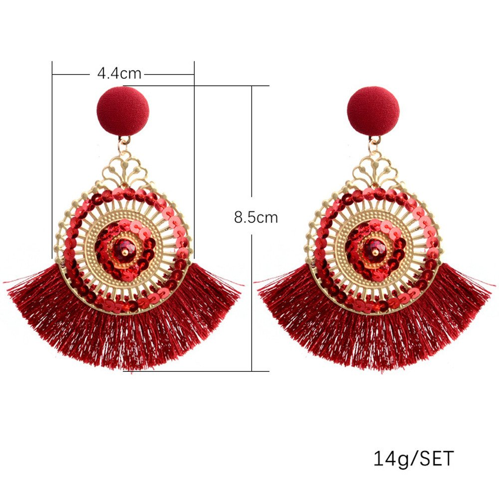 VIiviplus Clearance Earrings for Women White on Sale Openwork Style Big Circle Crystal Tassel Dangle Stud Earrings Pendant Fashion Jewelry for Girl