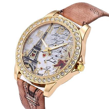 Kycut Reloj de pulsera de cuarzo para mujer, diseño vintage de la Torre Eiffel de