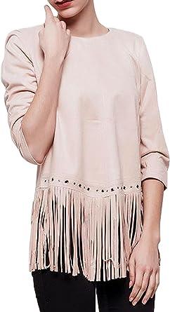 Camisa de Mujer con Manga 3/4 con Flecos en Gamuza, Estilo Indio Occidental Indio Beige o marrón