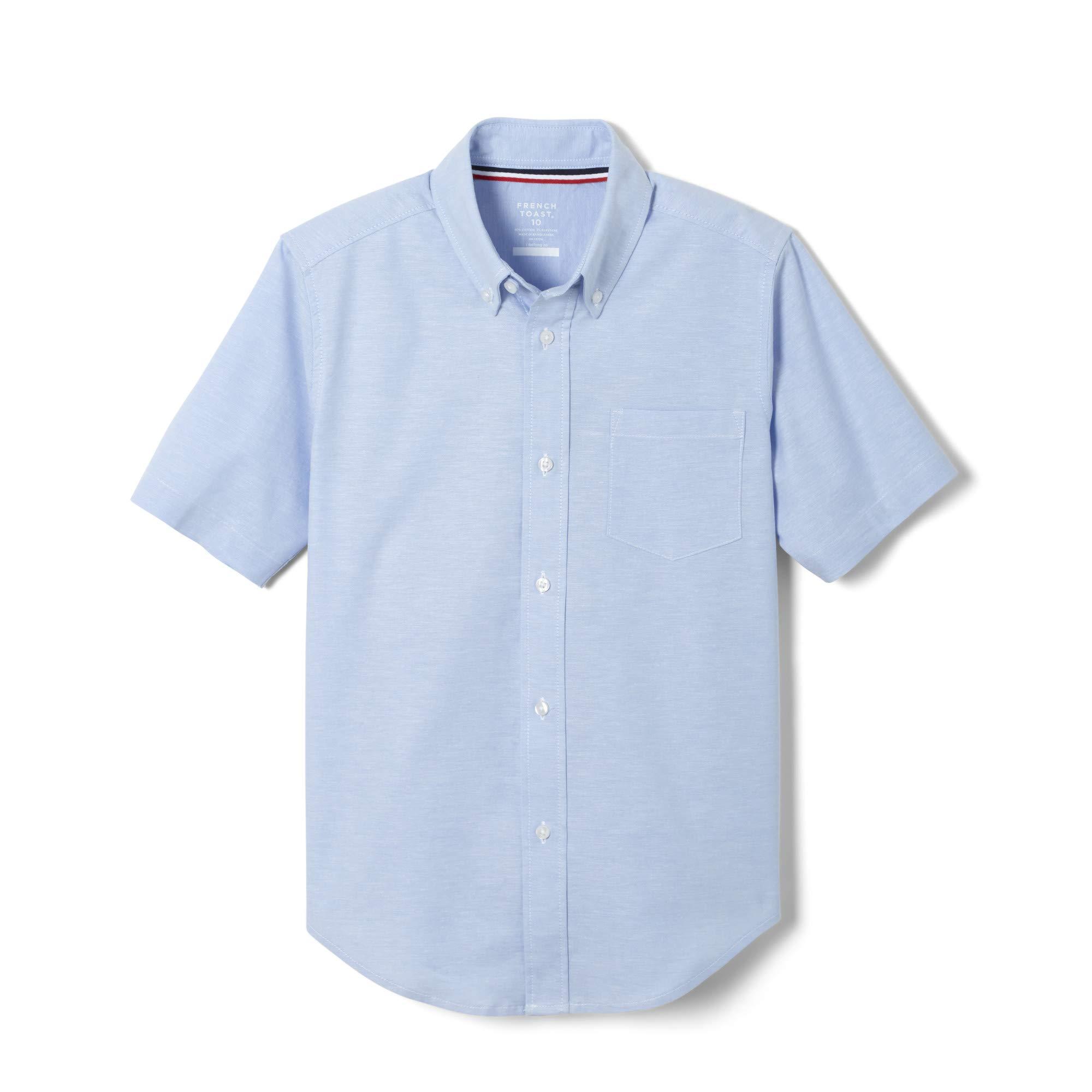 French Toast Boys' Big Short Sleeve Oxford Dress Shirt (Standard & Husky), Light Blue Stretch, 8