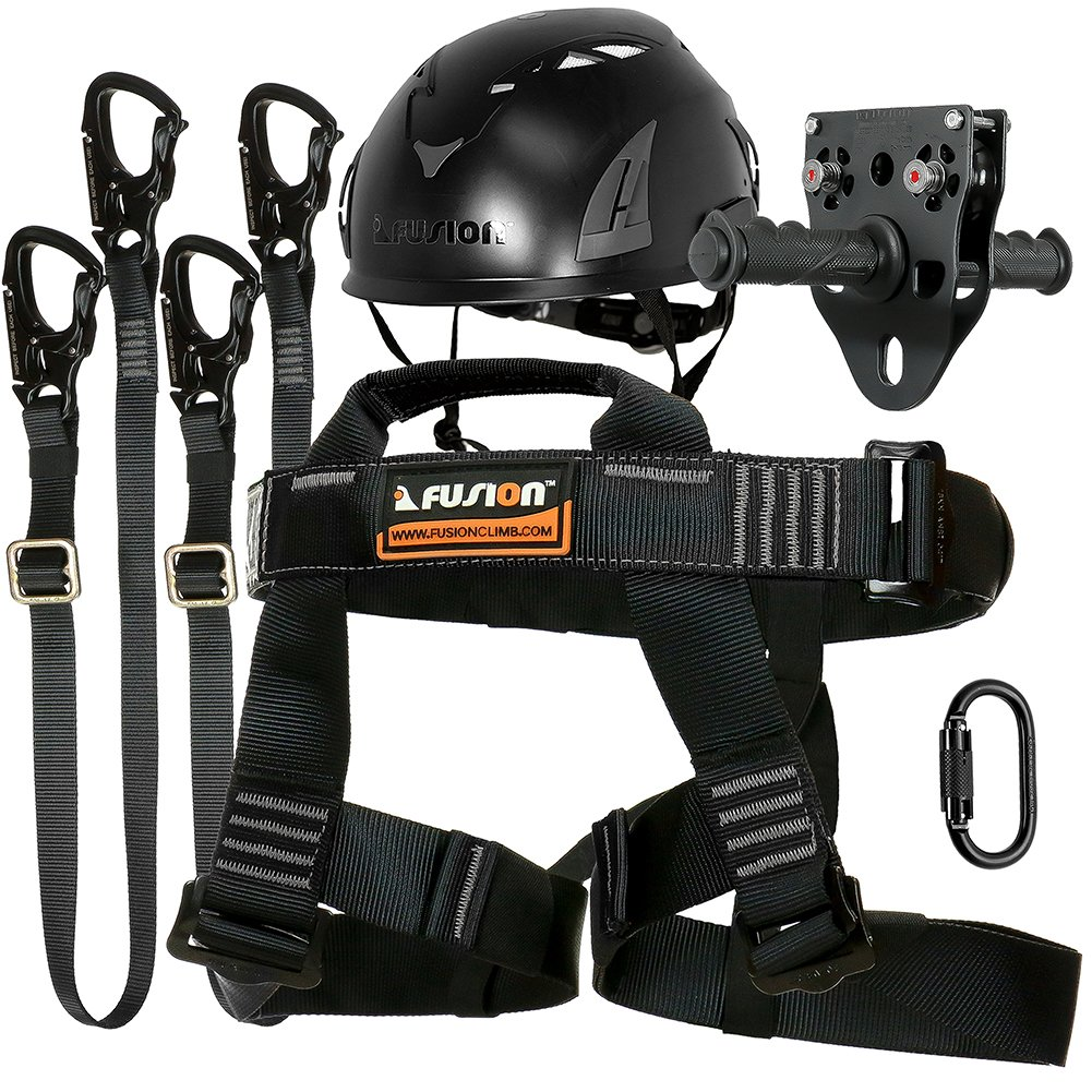 Fusion Climb Tactical Edition adultes Commercial tyrolienne kit Harnais/double tour de cou/Mousqueton/casque/chariot Bundle Ftk-a-hllcth-14