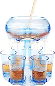 Shot Dispenser for Filling Liquids, Shot Pourer Alcohol Dispenser, Shot Glass Dispenser and Holder with 6 Glasses Cup, Alcohol Liquor Beverage Dispenser for Drinks, Liquor, Wine Party Games